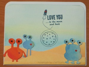 Watercolour Alien Love note